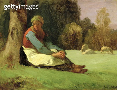 <b>Title</b> : Seated Shepherdess (oil on board)<br><b>Medium</b> : oil on board<br><b>Location</b> : National Museum and Gallery of Wales, Cardiff<br> - gettyimageskorea