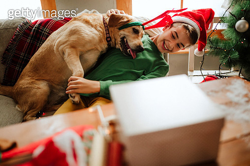 Kid waiting for Santa with dog - gettyimageskorea