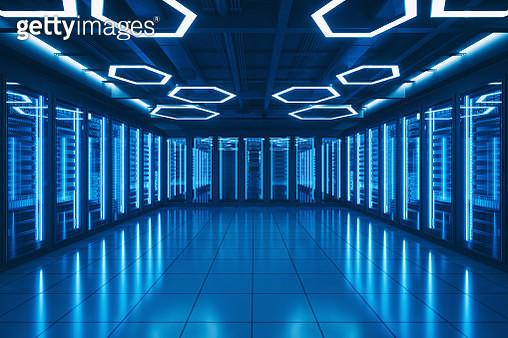 Futuristic Data Center Server Room - gettyimageskorea