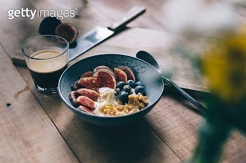 Close-Up Of Breakfast Served In Bowl On Table - gettyimageskorea