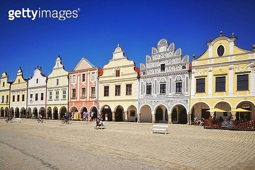 Renaissance houses on the Main Square of Telc - gettyimageskorea