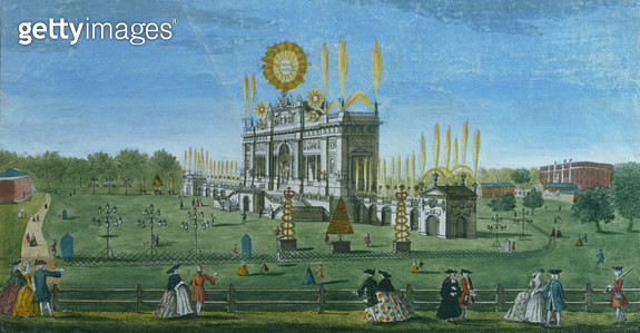 <b>Title</b> : A Perspective View of the Building for the Fireworks in the Green Park, taken from the Reservoir, engraved by Paul Angier, 1749<br><b>Medium</b> : coloured engraving<br><b>Location</b> : Gerald Coke Handel Collection, Foundling Museum, Lond - gettyimageskorea