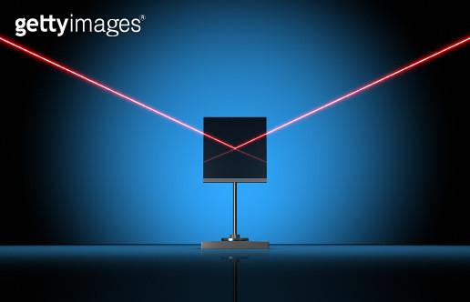 Red Laser Beam with Mirror - gettyimageskorea
