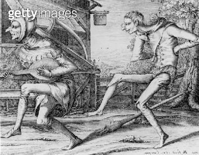 <b>Title</b> : T29975 Two Fools of the Carnival engraved by Hendrik Hondius (1573-after 1649) 1642 (engraving) (b/w)<br><b>Medium</b> : engraving on paper<br><b>Location</b> : Phillips, The International Fine Art Auctioneers, UK<br> - gettyimageskorea