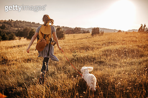Girl hiking with pet dog - gettyimageskorea