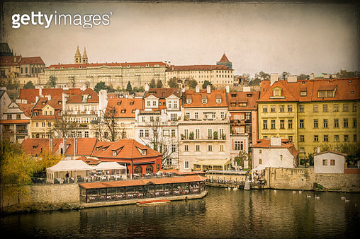 Colorful architecture along the Vltava River in central Prague - gettyimageskorea