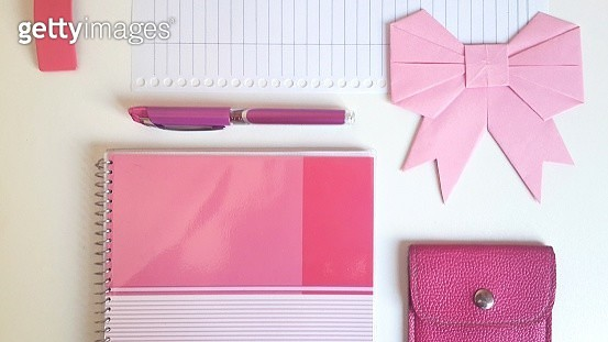 Directly Above Shot Of Pink Accessories On Table - gettyimageskorea