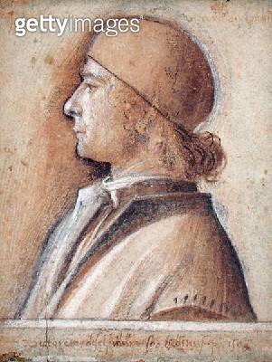 <b>Title</b> : Portrait of Vittore Belliniano di Matteo (1485-1529) in a Skullcap, 1505 (charcoal, wash & bistre on paper)<br><b>Medium</b> : charcoal, wash and bistre on paper<br><b>Location</b> : Musee Conde, Chantilly, France<br> - gettyimageskorea