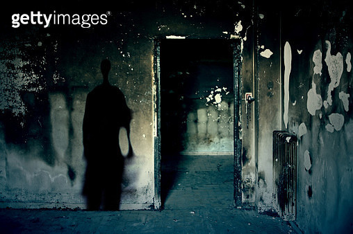 Scary scene with spooky shadow created digitally in a dark room of an abandoned building - gettyimageskorea