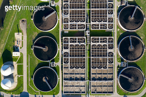 Sewage Treatment Plant, Aerial View - gettyimageskorea