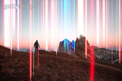 Colorful lights emerging from the Italian Alps, global 5g connections. - gettyimageskorea