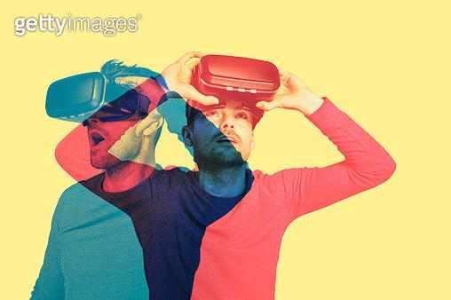 Man exploring virtual reality. Double exposure - gettyimageskorea