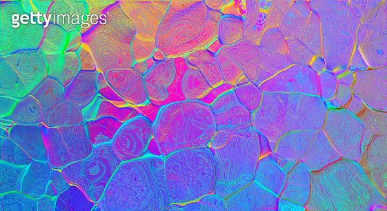Holographic real texture in blue pink green colors with scratches and irregularities - gettyimageskorea