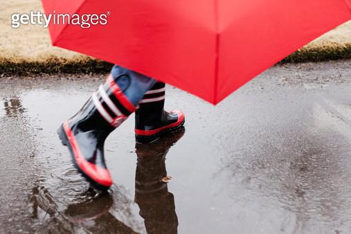 Wellingtons and umbrella - gettyimageskorea