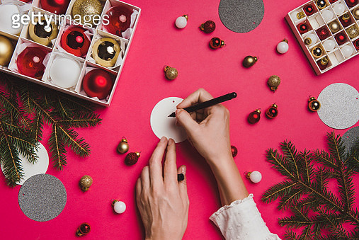 Christmas decoration from above overhead with woman hands - gettyimageskorea