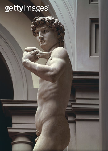 <b>Title</b> : David, detail of upper section by Michelangelo Buonarroti (1475-1564), 1504 (marble)<br><b>Medium</b> : <br><b>Location</b> : Galleria dell' Accademia, Florence, Italy<br> - gettyimageskorea