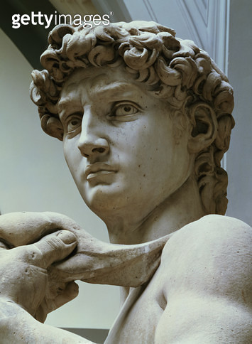 <b>Title</b> : David, detail of the head by Michelangelo Buonarroti (1475-1564), 1504 (marble)<br><b>Medium</b> : <br><b>Location</b> : Galleria dell' Accademia, Florence, Italy<br> - gettyimageskorea