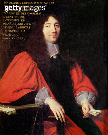 <b>Title</b> : Portrait of Olivier Lefevre (d.1686) (oil on canvas)<br><b>Medium</b> : oil on canvas<br><b>Location</b> : Private Collection<br> - gettyimageskorea