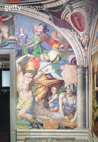 <b>Title</b> : The Fall of Manna, from the Capella di Eleonora, 1555 (fresco) (see also 60345 and 81566)Additional InfoChapel of Eleonora of To<br><b>Medium</b> : fresco<br><b>Location</b> : Palazzo Vecchio (Palazzo della Signoria) Florence, Italy<br> - gettyimageskorea