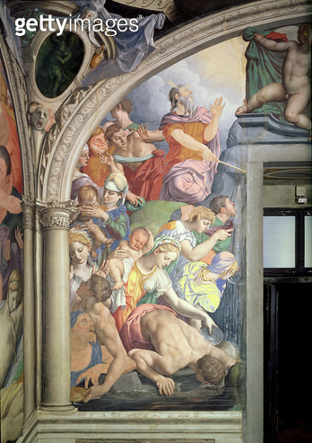 <b>Title</b> : Moses striking Water from the Rock, from the Capella di Eleonora, 1555 (fresco) (see also 60345 and 81565)Additional InfoChapel<br><b>Medium</b> : <br><b>Location</b> : Palazzo Vecchio (Palazzo della Signoria) Florence, Italy<br> - gettyimageskorea