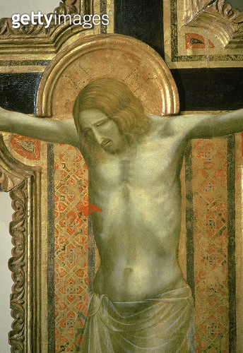 <b>Title</b> : Crucifix, detail of Christ, 1317 (tempera on panel)<br><b>Medium</b> : tempera on panel with gold leaf<br><b>Location</b> : Museo Civico, Padua, Italy<br> - gettyimageskorea