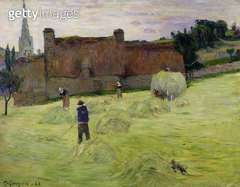 <b>Title</b> : Haymaking in Brittany, 1888 (oil on canvas)<br><b>Medium</b> : oil on canvas<br><b>Location</b> : Musee d'Orsay, Paris, France<br> - gettyimageskorea