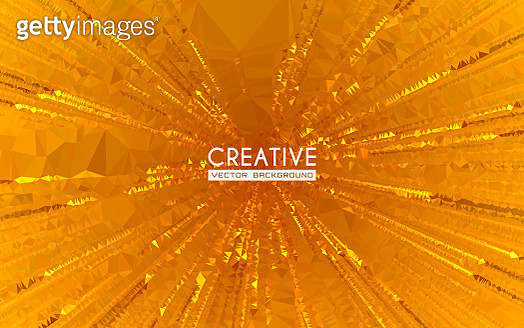 This vector illustration features abstract polygonal graphic art. It is a combination of triangular shapes in composition incorporating vibrant colors. The illustration represents the concept of starburst. The image is warm and yellow. The use of shine an - gettyimageskorea