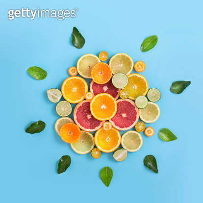 Conceptual healthy citrus fruits eating still life image. - gettyimageskorea