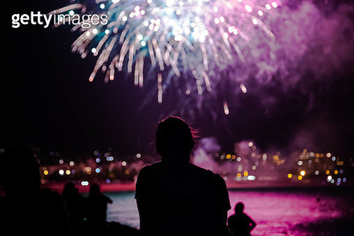 Summer festivity in the Mataro city with fireworks in the beach. - gettyimageskorea