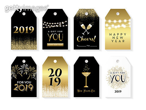 Set of New Years Eve gift tags with greeting designs and holiday elements - gettyimageskorea
