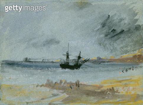 <b>Title</b> : Ship Aground, Brighton, 1830 (black ink, w/c & bodycolour on paper)<br><b>Medium</b> : black ink, watercolour and bodycolour on paper<br><b>Location</b> : Yale Center for British Art, Paul Mellon Collection, USA<br> - gettyimageskorea