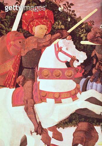 <b>Title</b> : The Battle of San Romano, detail of Niccolo da Tolentino (d.1435), leader of the Florentine mercenaries, c.1450-60 (tempera on p<br><b>Medium</b> : <br><b>Location</b> : National Gallery, London, UK<br> - gettyimageskorea