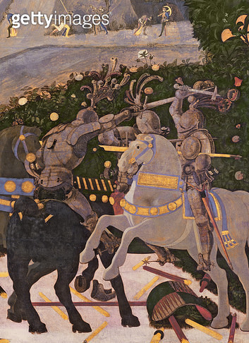 <b>Title</b> : The Battle of San Romano, detail of two cavalrymen engaged in combat, c.1450-60 (tempera on panel) (detail of 30690)<br><b>Medium</b> : <br><b>Location</b> : National Gallery, London, UK<br> - gettyimageskorea