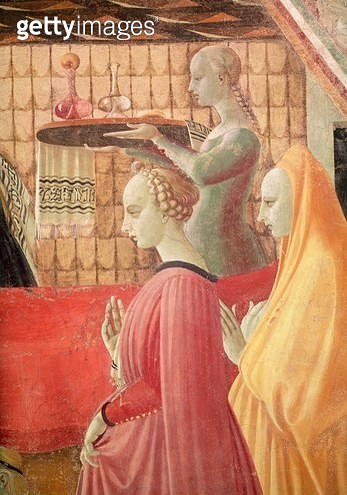 <b>Title</b> : Birth of the Virgin, detail of a servant and two attendants, 1440 (fresco) (see also 85550)<br><b>Medium</b> : fresco<br><b>Location</b> : Chapel of the Assumption, Duomo, Prato, Italy<br> - gettyimageskorea
