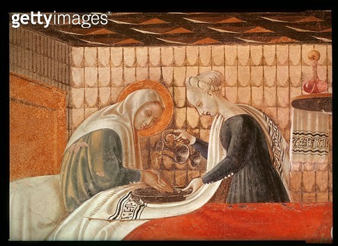 <b>Title</b> : Birth of the Virgin, detail of St. Anne and an attendant, 1440 (fresco) (see also 85549)<br><b>Medium</b> : fresco<br><b>Location</b> : Chapel of the Assumption, Duomo, Prato, Italy<br> - gettyimageskorea