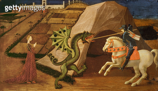 <b>Title</b> : St. George and the Dragon, c.1439-40 (tempera on panel) (for detail see 85552)<br><b>Medium</b> : tempera on panel<br><b>Location</b> : Musee Jacquemart-Andre, Paris, France<br> - gettyimageskorea
