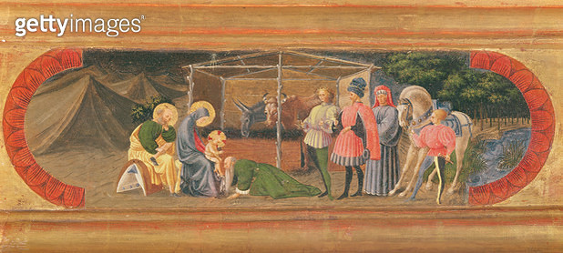 <b>Title</b> : The Quarata Predella depicting the Adoration of the Magi, 1435-40 (tempera on panel)<br><b>Medium</b> : <br><b>Location</b> : Palazzo Arcivescovile, Florence, Italy<br> - gettyimageskorea