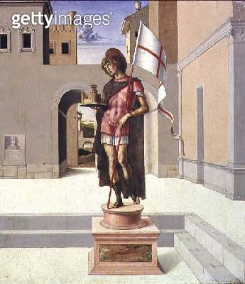 <b>Title</b> : St. George depicted as a polychrome statue in a town square, predella (panel) (see also 85578)<br><b>Medium</b> : oil on panel<br><b>Location</b> : Museo Civico, Pesaro, Italy<br> - gettyimageskorea