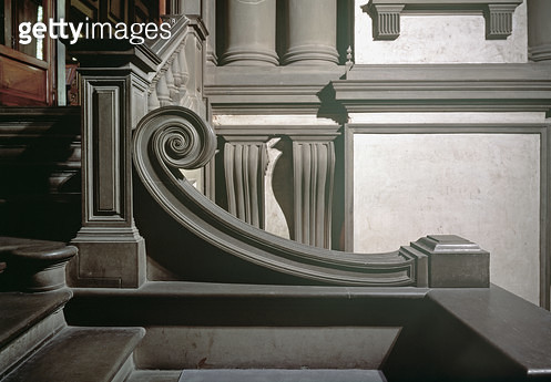 <b>Title</b> : Entrance Hall, detail of staircase designed by Michelangelo Buonarroti (1475-1564) in 1524-34 and completed in 1559 by Bartolome<br><b>Medium</b> : <br><b>Location</b> : Biblioteca Medicea-Laurenziana, Florence, Italy<br> - gettyimageskorea