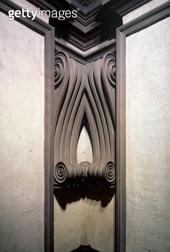 <b>Title</b> : Entrance Hall, detail of merging scroll corner decoration designed by Michelangelo Buonarroti (1475-1564), 1524-34<br><b>Medium</b> : <br><b>Location</b> : Biblioteca Medicea-Laurenziana, Florence, Italy<br> - gettyimageskorea