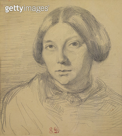 <b>Title</b> : Portrait of a woman, possibly George Sand (1804-76) (pencil on paper)<br><b>Medium</b> : pencil on paper<br><b>Location</b> : Private Collection<br> - gettyimageskorea