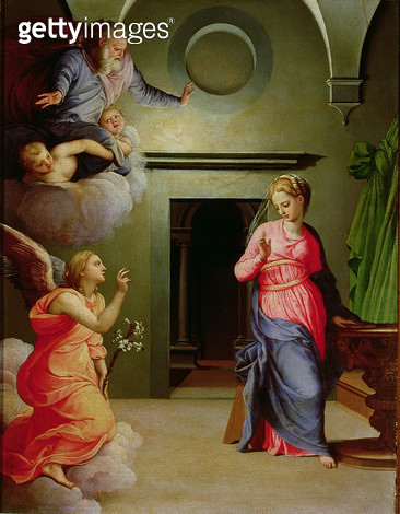<b>Title</b> : The Annunciation (tempera on panel)<br><b>Medium</b> : tempera on panel<br><b>Location</b> : Galleria degli Uffizi, Florence, Italy<br> - gettyimageskorea