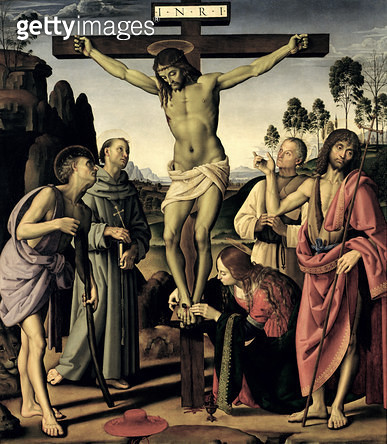 <b>Title</b> : The Crucifixion with Saints Jerome, Francis, Mary Magdalene, John the Baptist and the blessed Giovanni Colombini, c.1480-1500 (o<br><b>Medium</b> : oil on panel<br><b>Location</b> : Galleria degli Uffizi, Florence, Italy<br> - gettyimageskorea