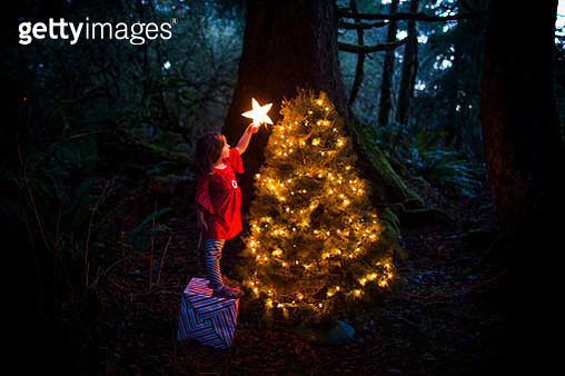 Caucasian girl decorating Christmas tree in forest - gettyimageskorea