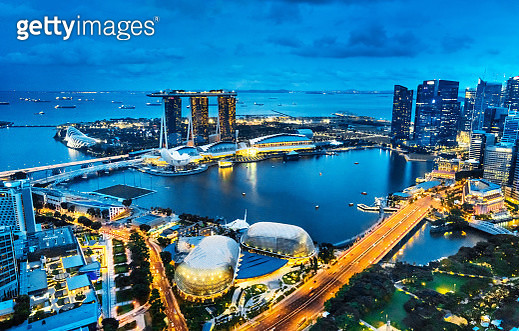 Singapore at night, Aerial view of Marina Bay - gettyimageskorea