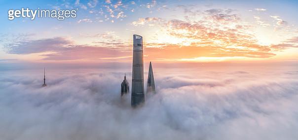 Fog,Lujiazui,Shanghai,China,East Asia - gettyimageskorea