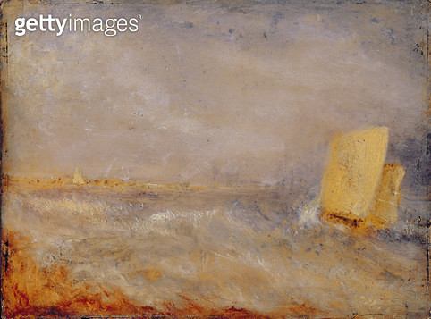 <b>Title</b> : A Sailing Boat off Deal, c.1835 (oil on millboard)<br><b>Medium</b> : oil on millboard<br><b>Location</b> : National Museum and Gallery of Wales, Cardiff<br> - gettyimageskorea