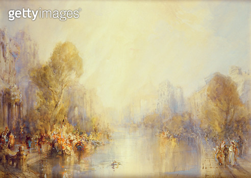 <b>Title</b> : Romantic landscape (w/c on paper)<br><b>Medium</b> : watercolour on paper<br><b>Location</b> : Private Collection<br> - gettyimageskorea