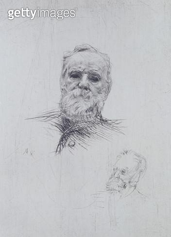 <b>Title</b> : Portrait of Victor Hugo (1802-85) (drypoint)<br><b>Medium</b> : <br><b>Location</b> : Private Collection<br> - gettyimageskorea