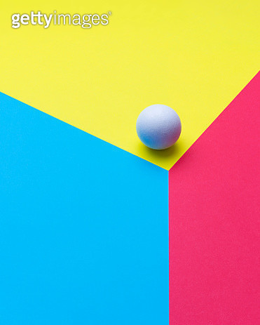 Sphere at the edge of a colorful cube - gettyimageskorea